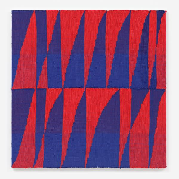 Brent wadden  red blue  2  2014  painting   handwoven fibers