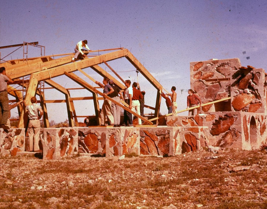 Taliesin apprentices assemble the roof of the music pavilion  which was completed in the late 1950s