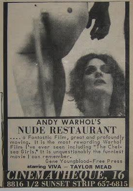 Andy Warhol, Film Poster for Nude Restaurant