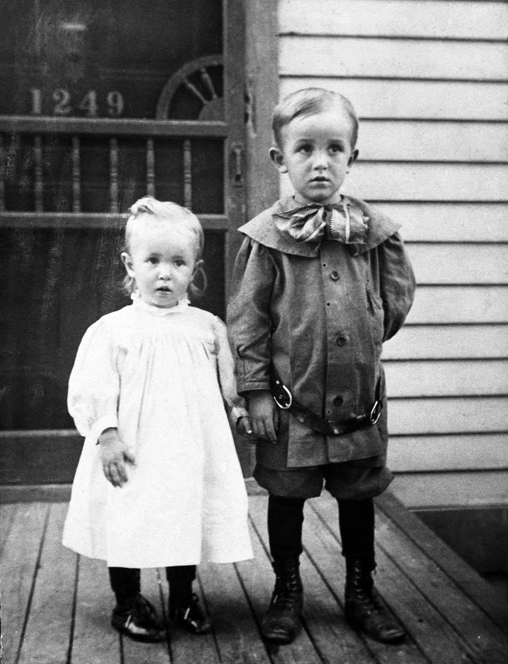 Portrait , Walt Disney and his younger sister Ruth, 1906
