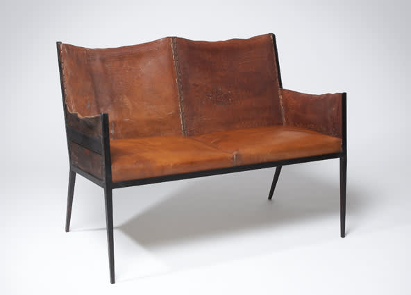 Jean michel frank iron and leather settee circa 9020s