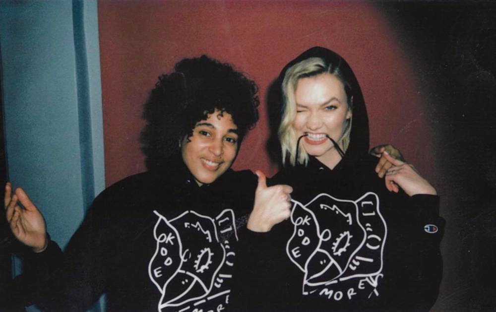 Shantell Martin and Karlie Kloss, Wearing the Kode More Hoodie, 2019