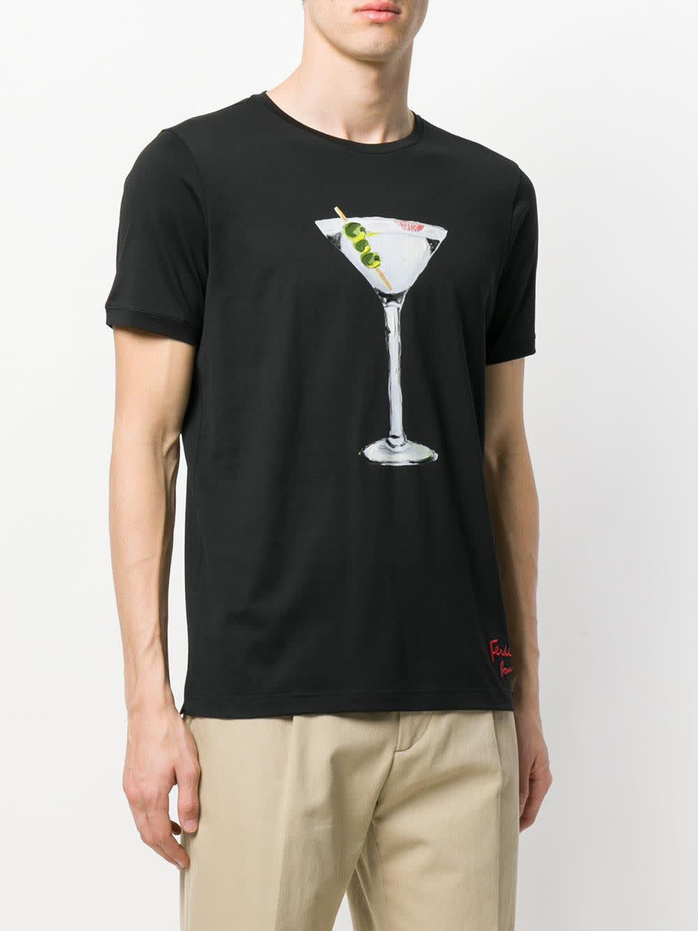 Fendi , Black Martini Printed T-shirt