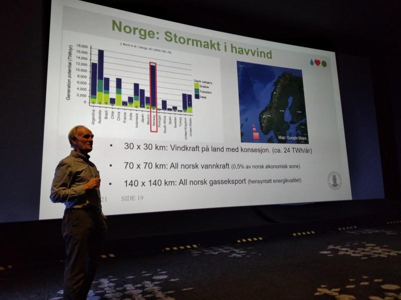 Professor Finn Gustav Nielsen viser behovet for areal ved alternative utbygginger med havvind