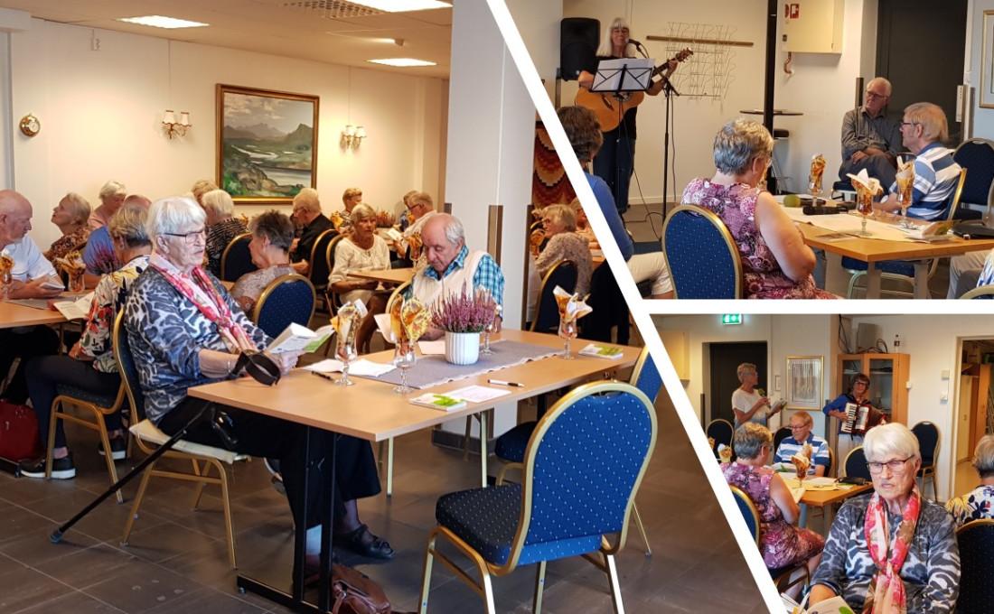 Fra medlemsmøtet 8.sept.2021 Underholdningen ble besørget av Inger Olsen fra Son, nå bosatt i Ørje. Hun framførte sanger hun selv hadde laget, til dels med lokalt tilsnitt.