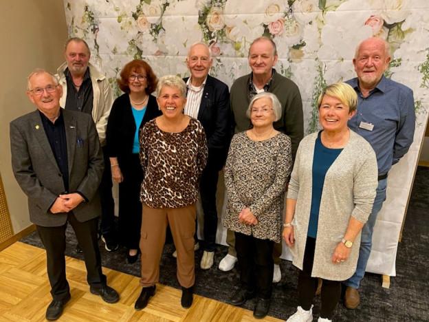 Fra venstre bak 1. vara Aksel Fallsen, styremedlem Eva Hage, styremedlem Odd Arne Heggås,  nestleder Knut Harald Røang, styremedlem Idar Hartvigsen,  Foran fra venstre fylkesleder Werner Kiil, Kasserer Tove B. T. Andreassen, styremedlem Laila Bergmo, 2. vara Hildur Storli.