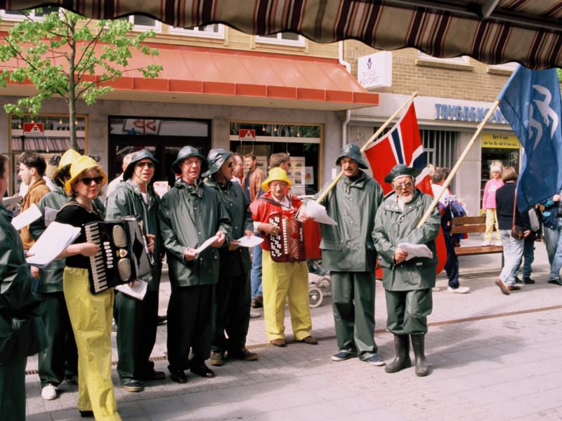 Det var stor stemning i gatene da Haugesund var vertskap for landsmøtet i 1995.