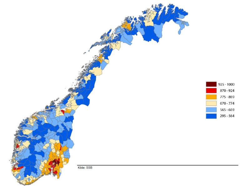 Kartet viser kommuner med fargekode etter sentralitetsklasse. De blå kommunene er klasse 5 og 6, som kan komme til å motta investeringstilskudd for trygghetsboliger. (Klassifisering for 1.1.2019 med kommunegrenser per 1.1.2020).