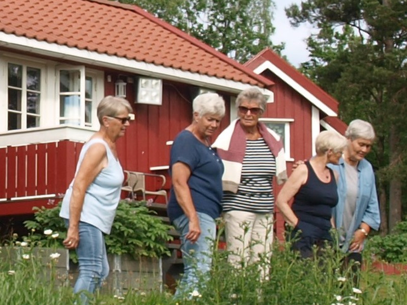 Berit H Gjøseid (nr 2 fra venstre) gaider, Anne Lise Sundsdal, Ingeborg Helene Ausel, Gro Hagane og Karin Flaten på rundtur på Gjøseid.