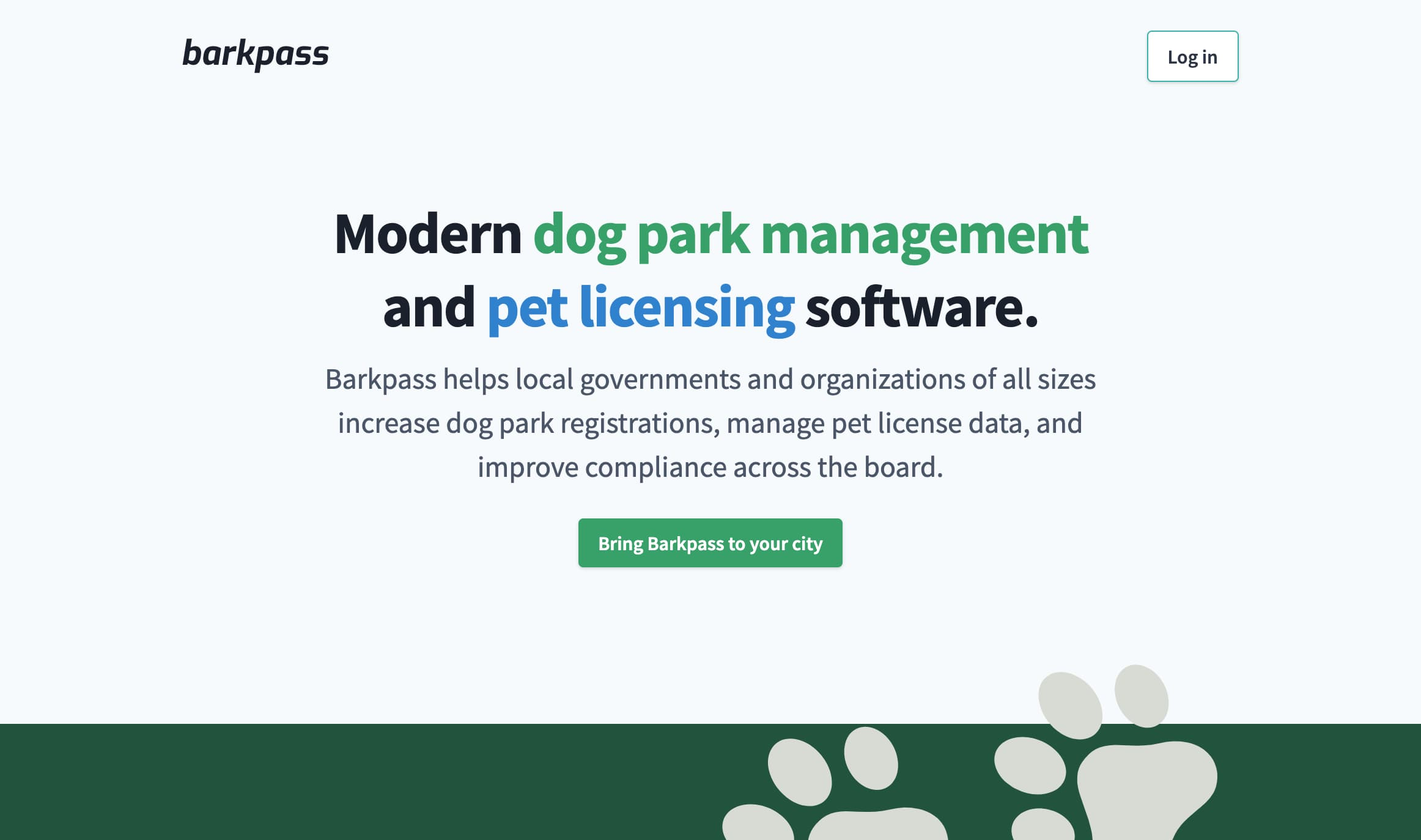The Barkpass homepage