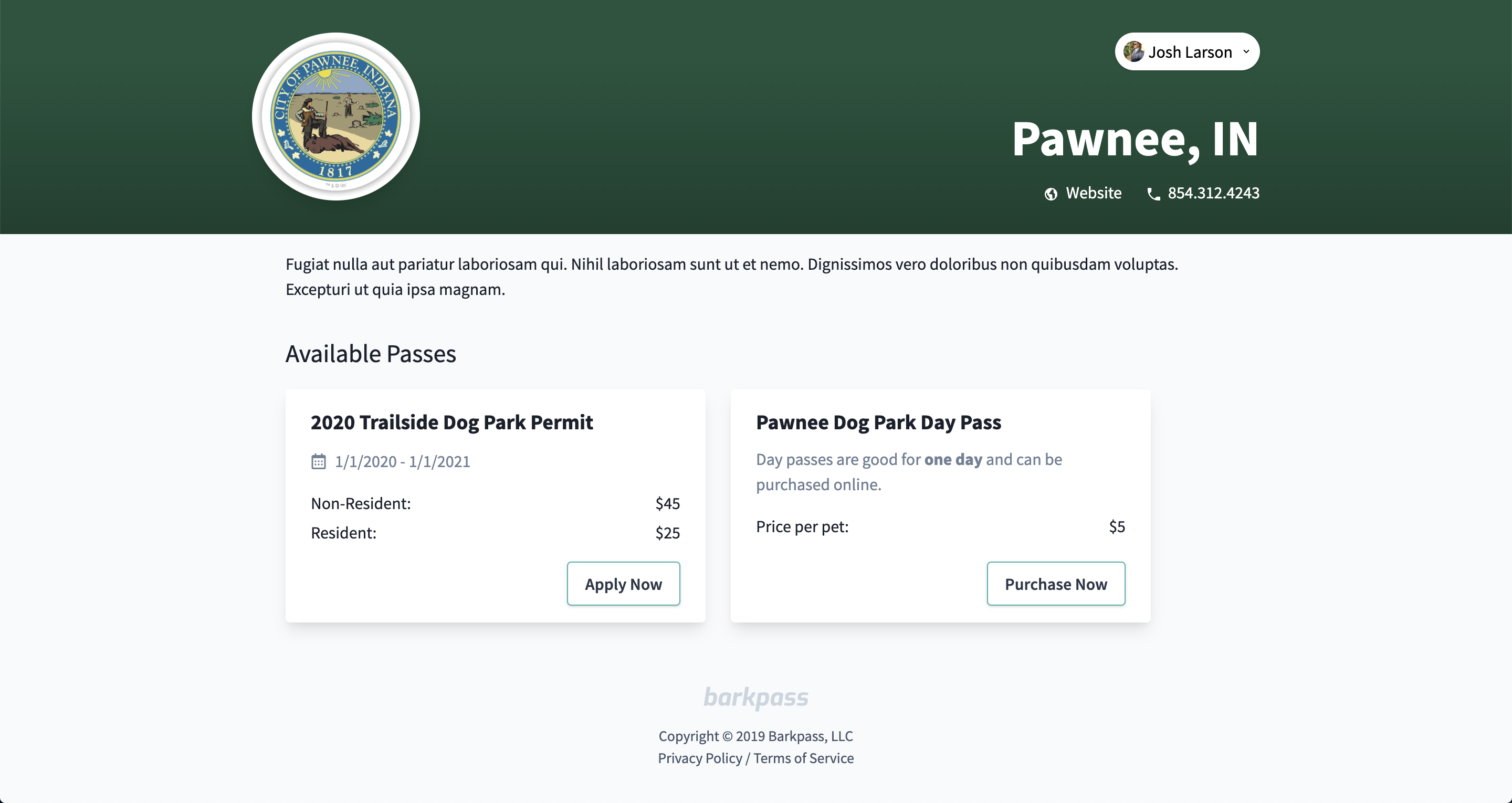 City landing page for Pawnee, Indiana