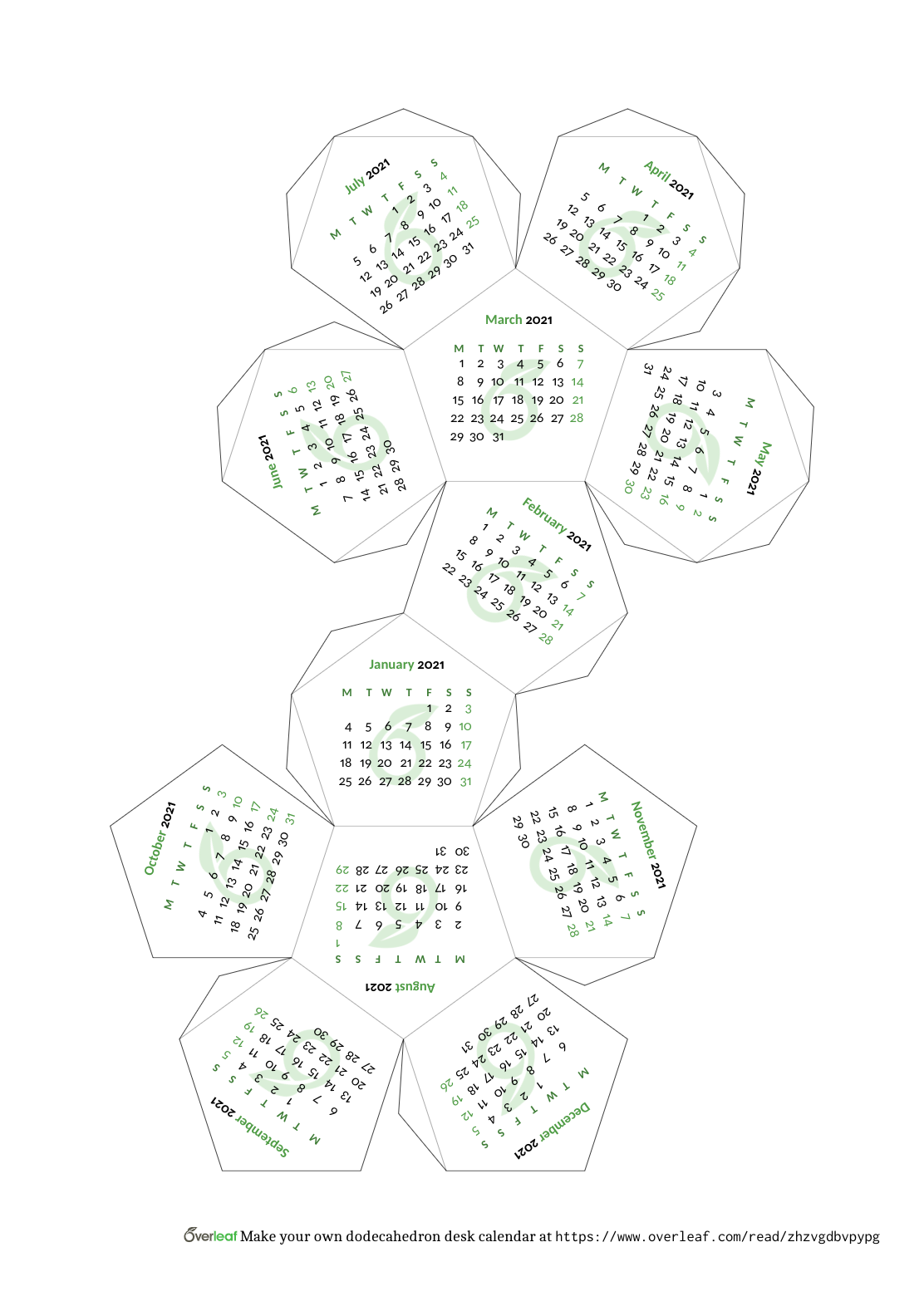 Overleaf-themed dodecahedron calendar