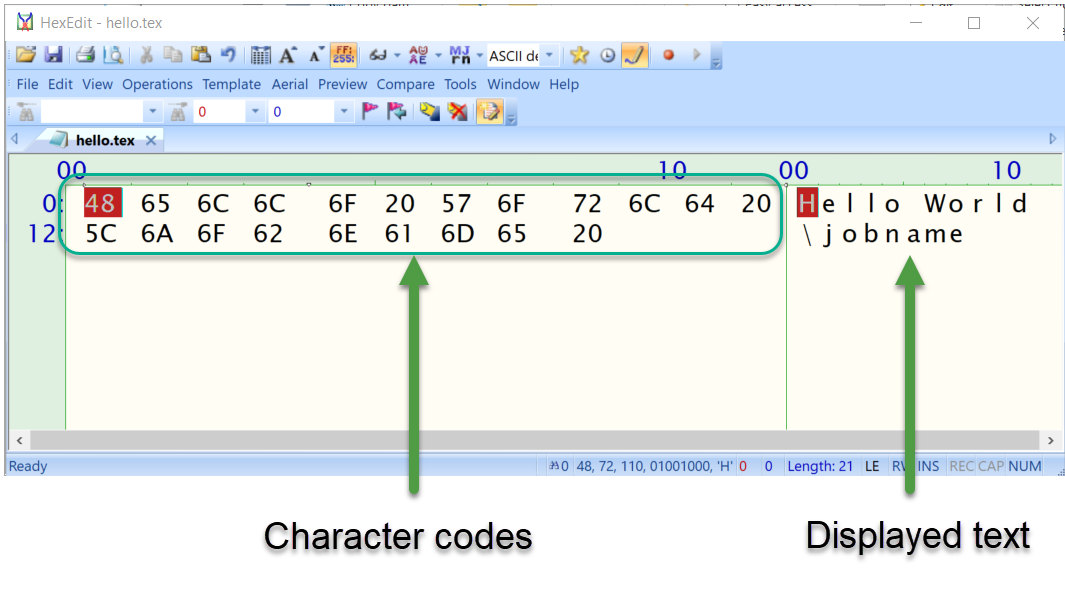 Hexadecimal Character codes in a TeX file