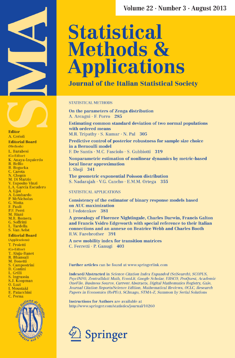 Statistical Methods and Applications - Springer LaTeX Template