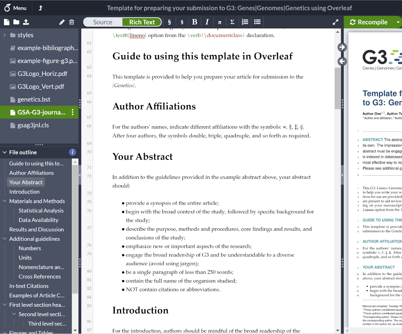 Overleaf File Outline - Research Paper Example