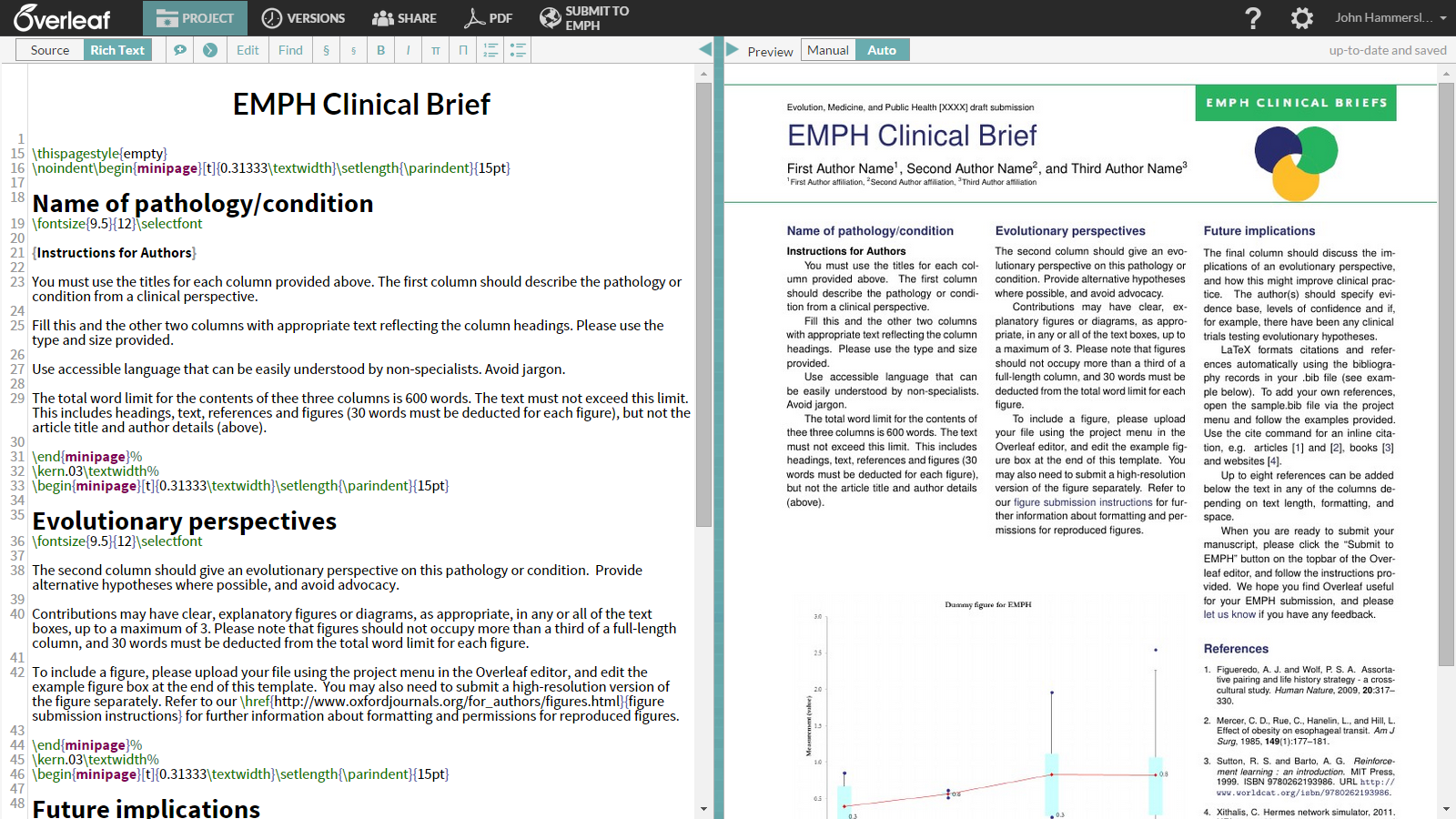 Write your Clinical Briefs in Overleaf: New template for Evolution
