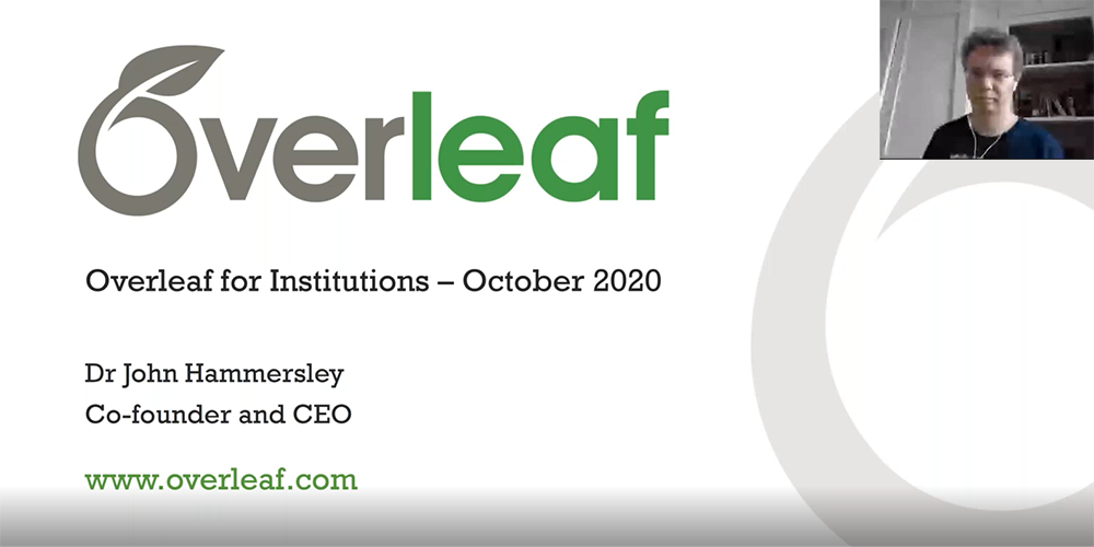 Overleaf for Institutions webinar Oct 2020