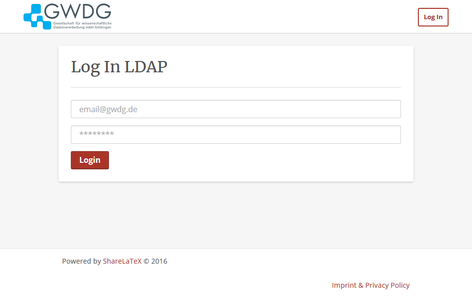 Screenshot LDAP - GWDG sharelatex, Online LaTeX Editor