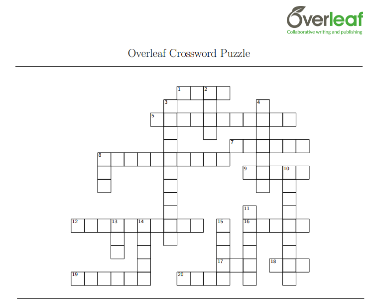 Overleaf Crossword Puzzle