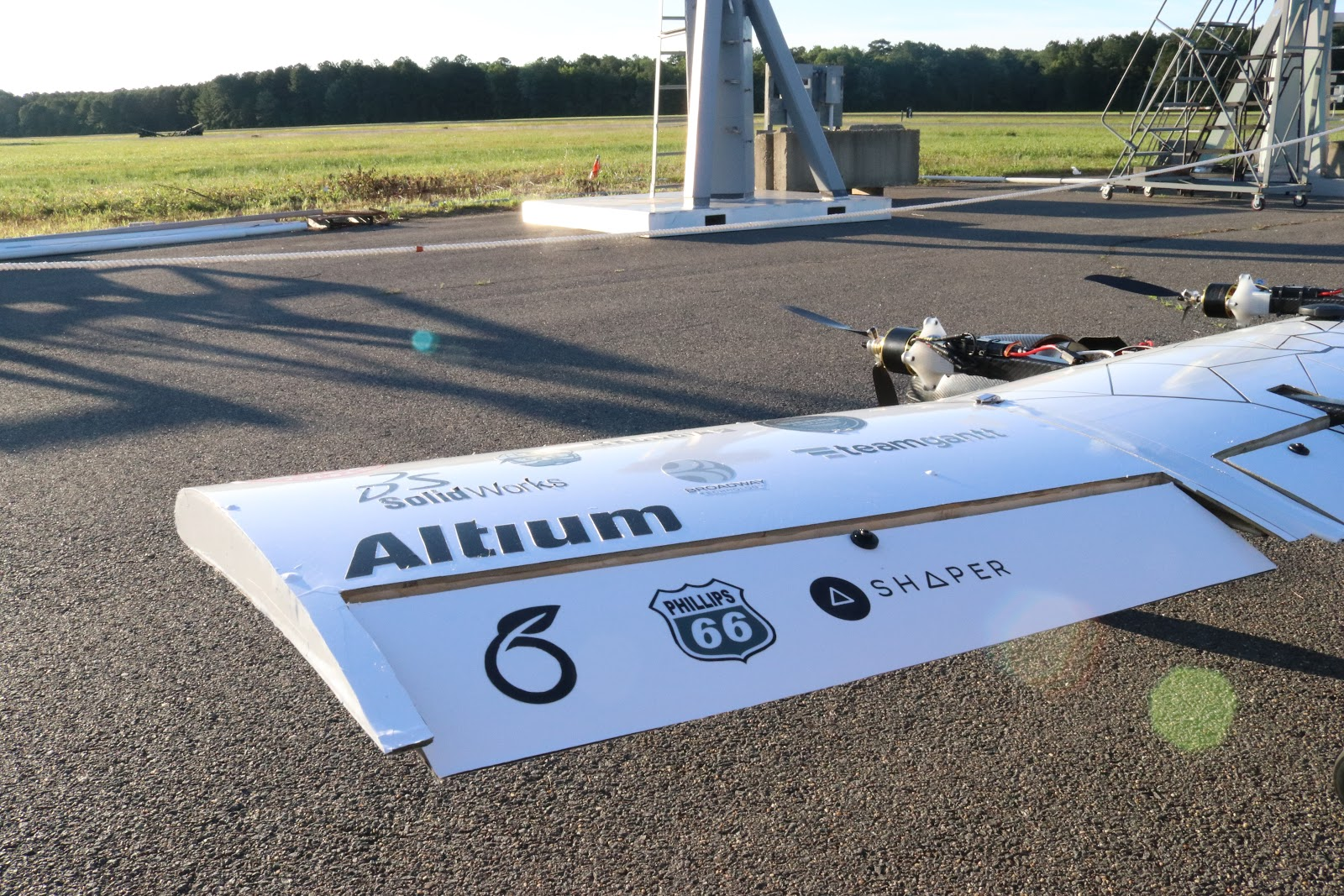 CUAir_Overleaf 'O' logo on wing of CUAir unmanned aircraft