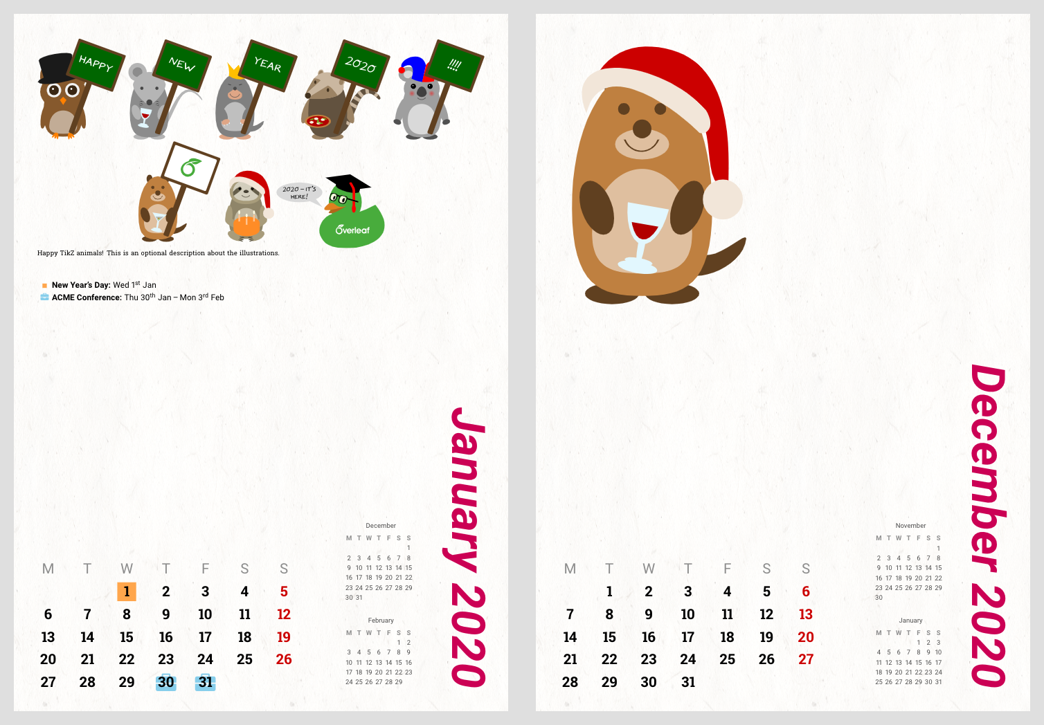 Tikzducks Customizable Calendar