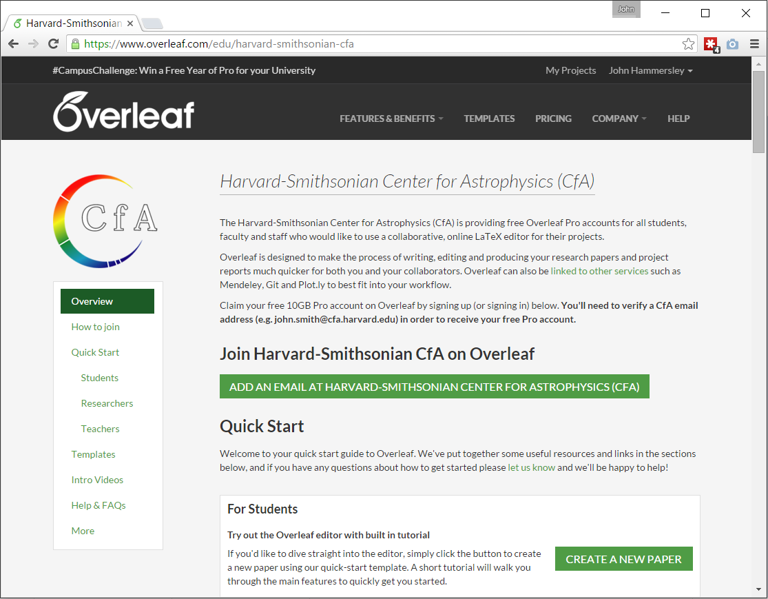 Free Overleaf Pro Accounts for members of the Harvard