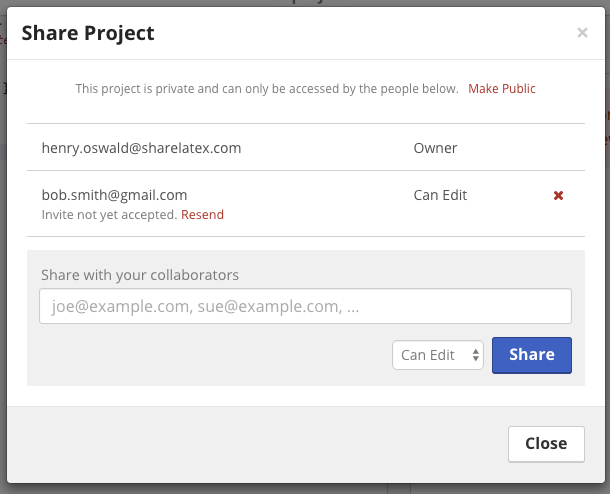 Share Project Modal
