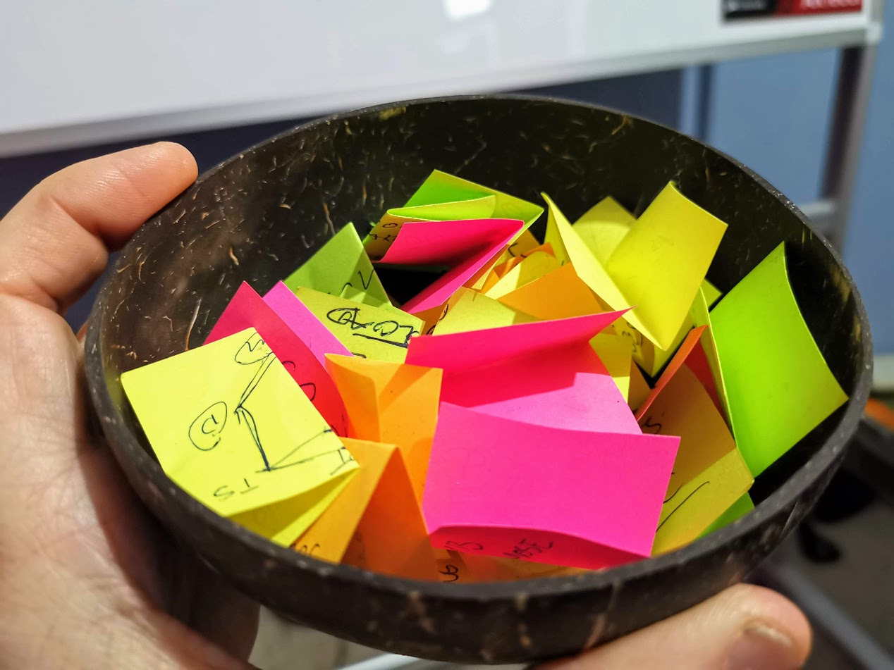 Photo of Simon's completed Postit Notes