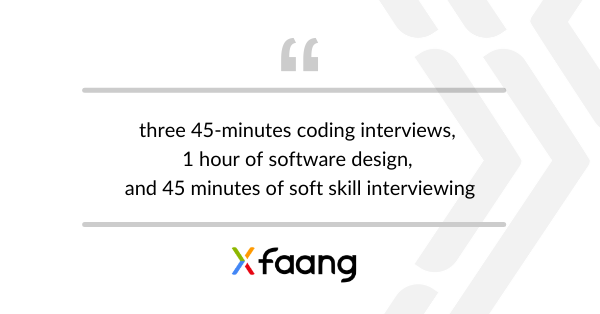 """Article quote: """"three 45-minutes coding interviews, 1 hour of software design, and 45 minutes of soft skill interviewing"""""""