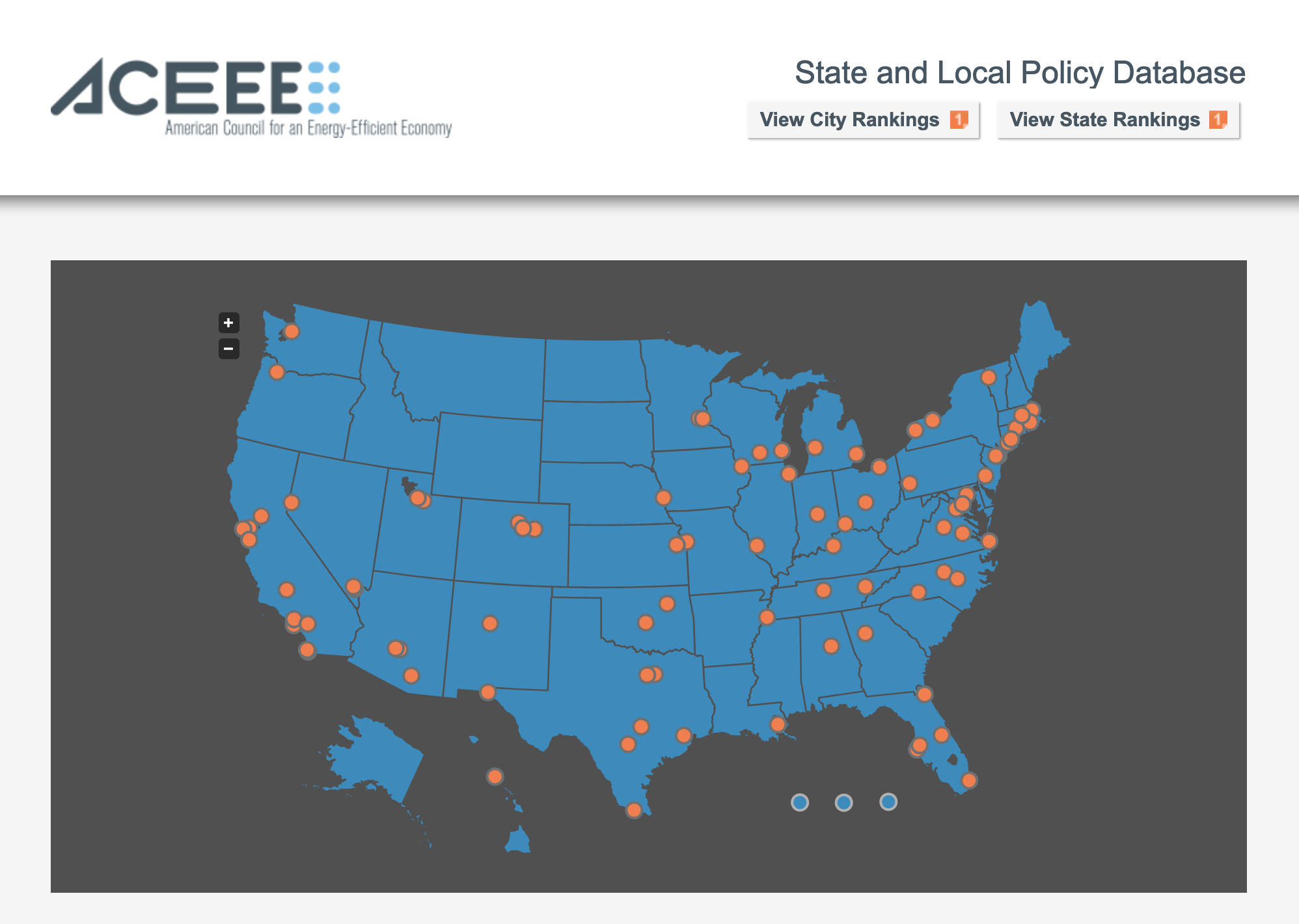 ACEEE State and Local Policy Database screenshot