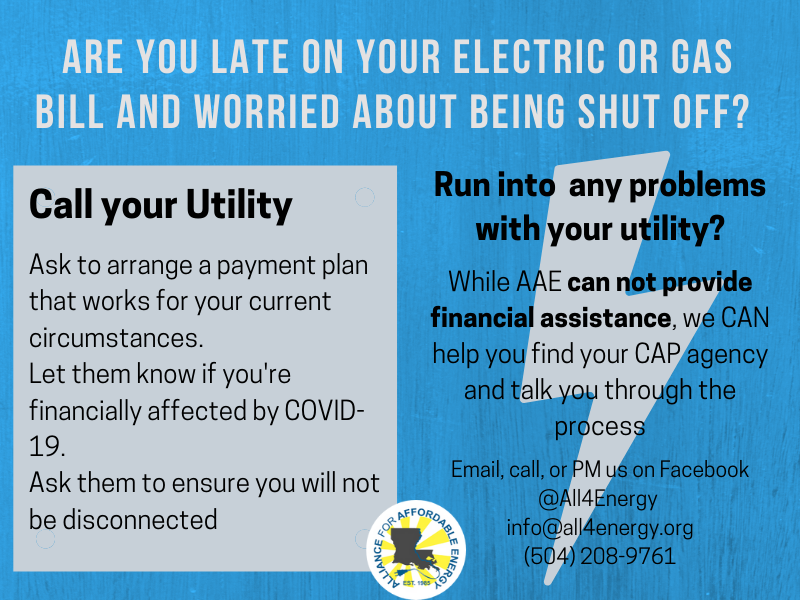 Are you late on your electric or gas bill and worried about being shut off?