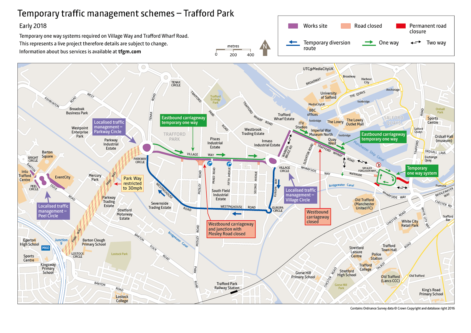 Temporary traffic management schemes – Trafford Park