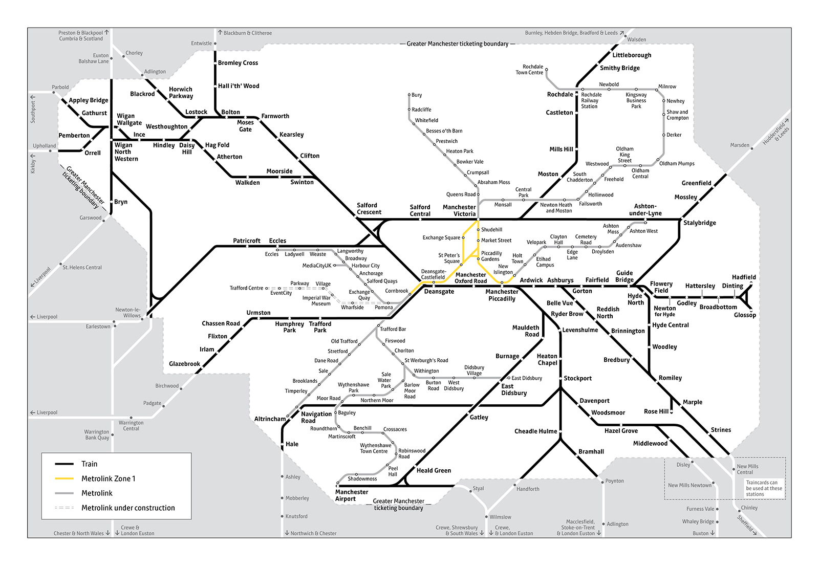 Greater Manchester Rail Tickets Area Map Jan 2019
