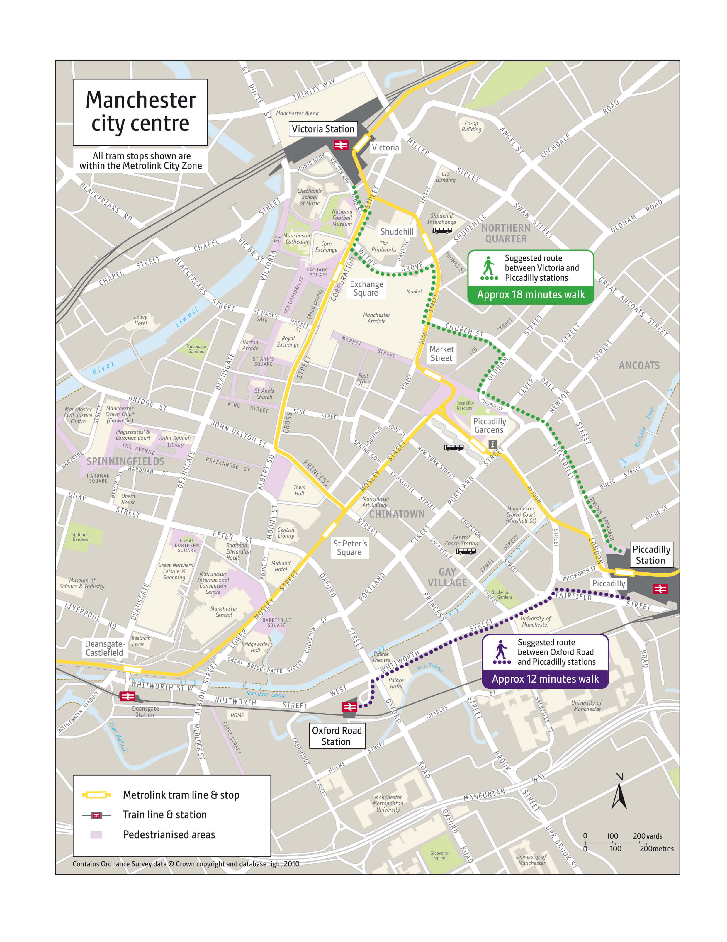 Map Of Manchester City Centre Manchester city centre walking routes map | Transport for Greater  Map Of Manchester City Centre