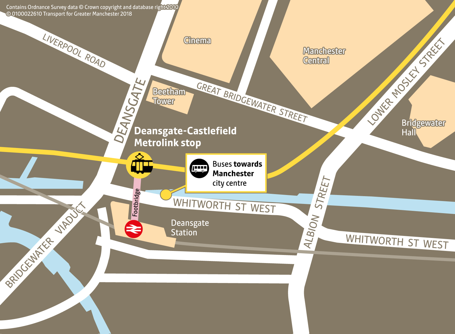 Deansgate-Castlefield Replacement Bus Map
