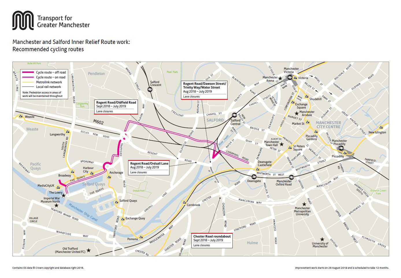 Manchester and Salford Inner Relief Road cycling map