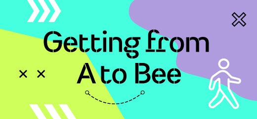 Graphic with text saying Getting from A to Bee