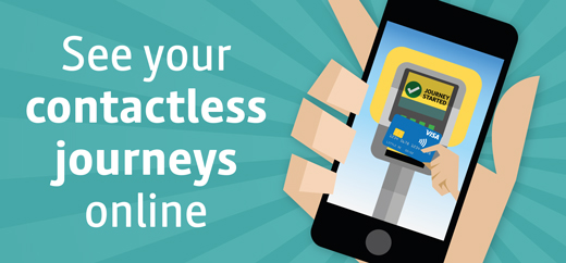 Image of smart phone on turquoise background with the words 'See your contactless journeys online'