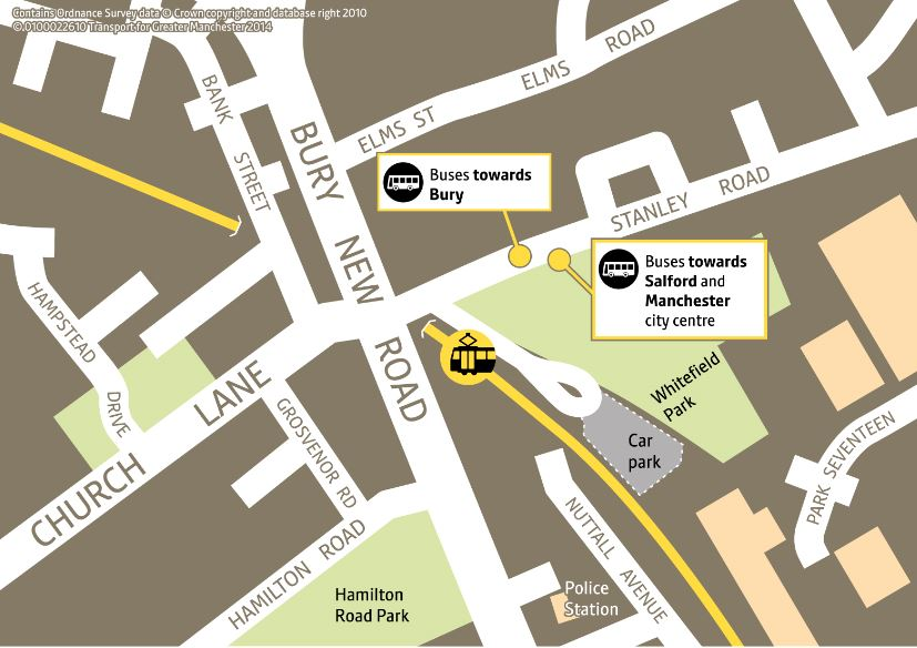 Whitefield Metrolink Bus Replacement Map