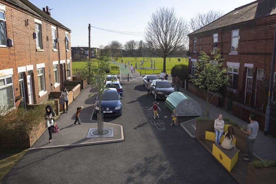 Visualisation of a residential street in Levenshulme