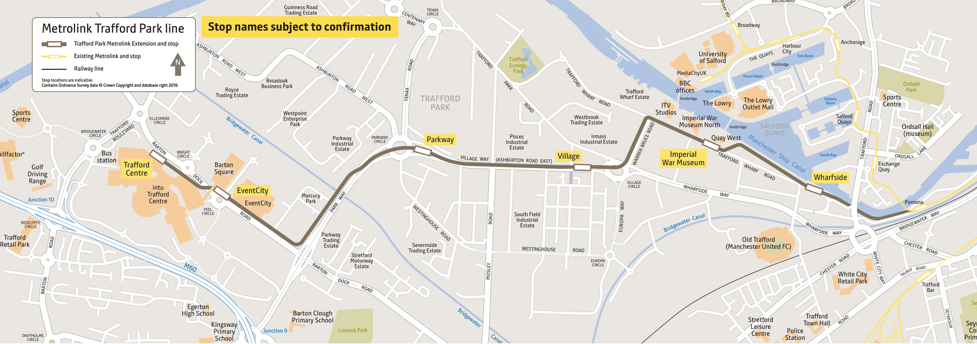 Map Of Trafford Centre Metrolink Trafford Park Line route map | Transport for Greater