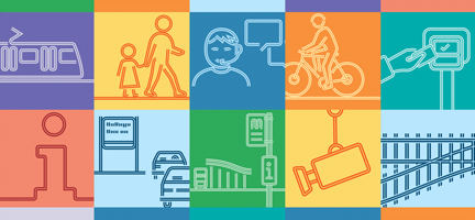 Various multi-colored images of people working and transport symbols