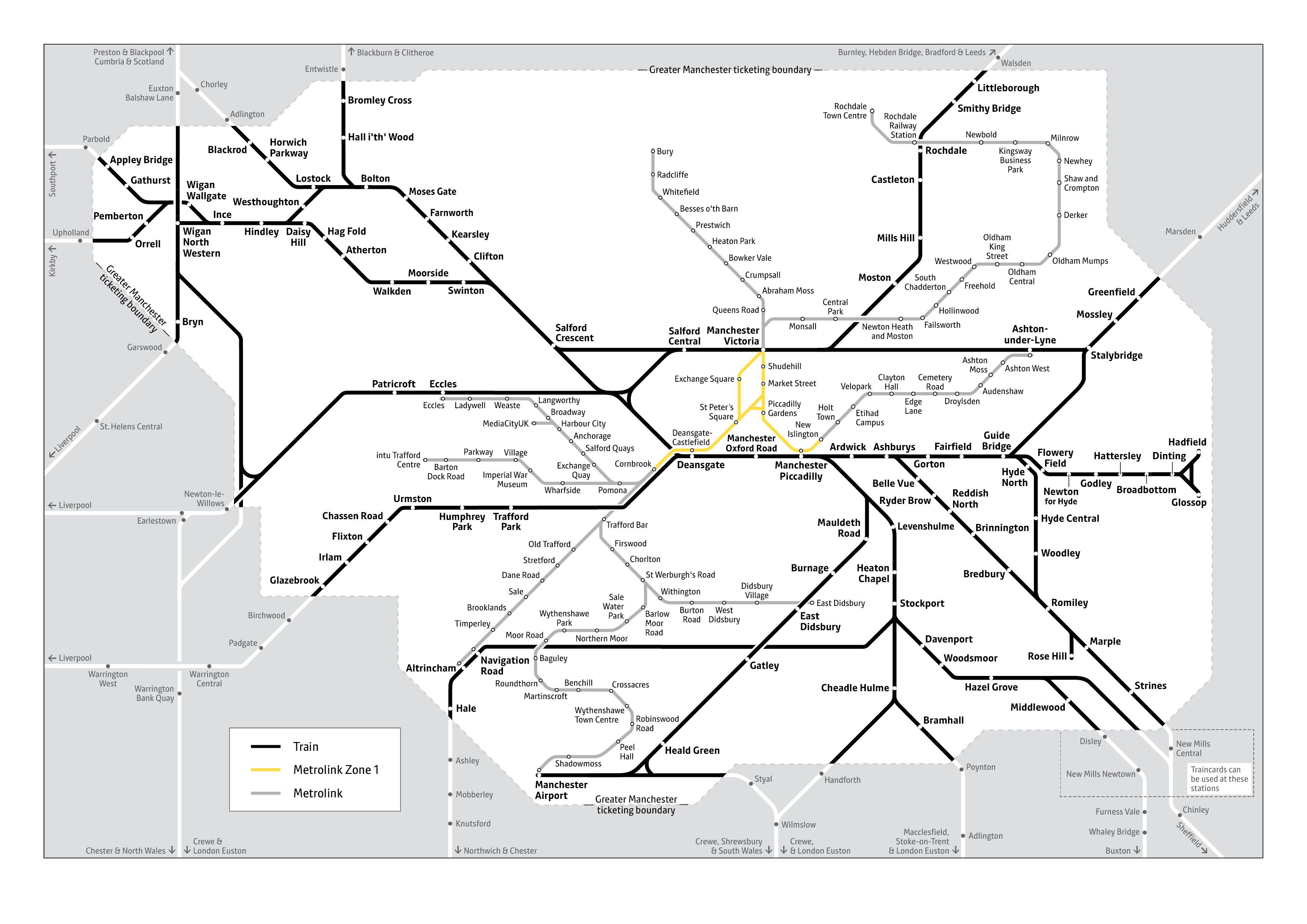 Greater Manchester Rail Tickets Area Map (TPL Spring 2020)