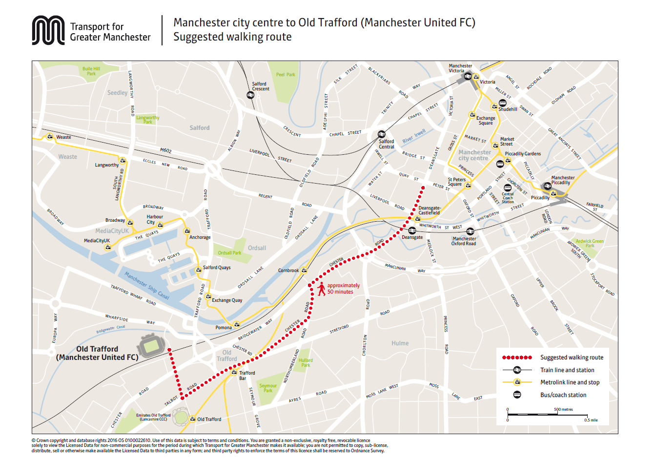 Manchester United walking route map old trafford