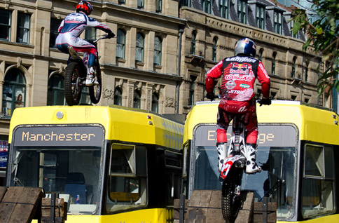 Trials bike over Metrolink Tram