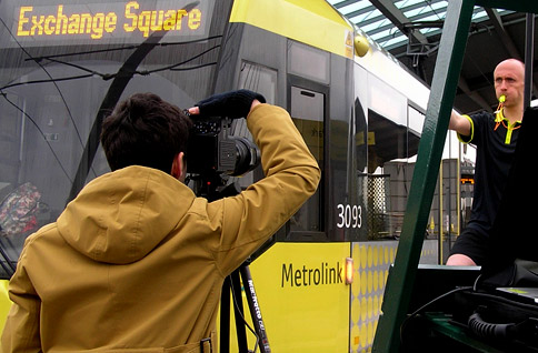 Filming at a Metrolink station