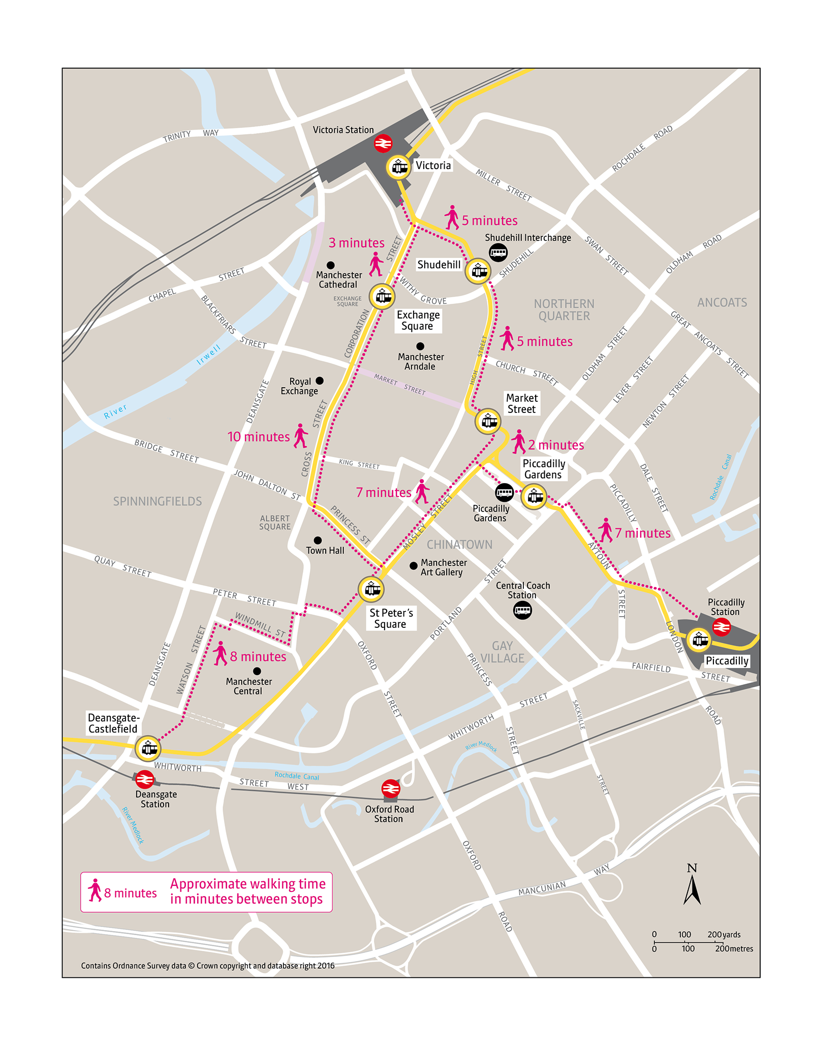 Metrolink city centre walking route map | Transport for ... on map a path, map a drive, map a course, map a run, map a cut, map a distance, map a process,