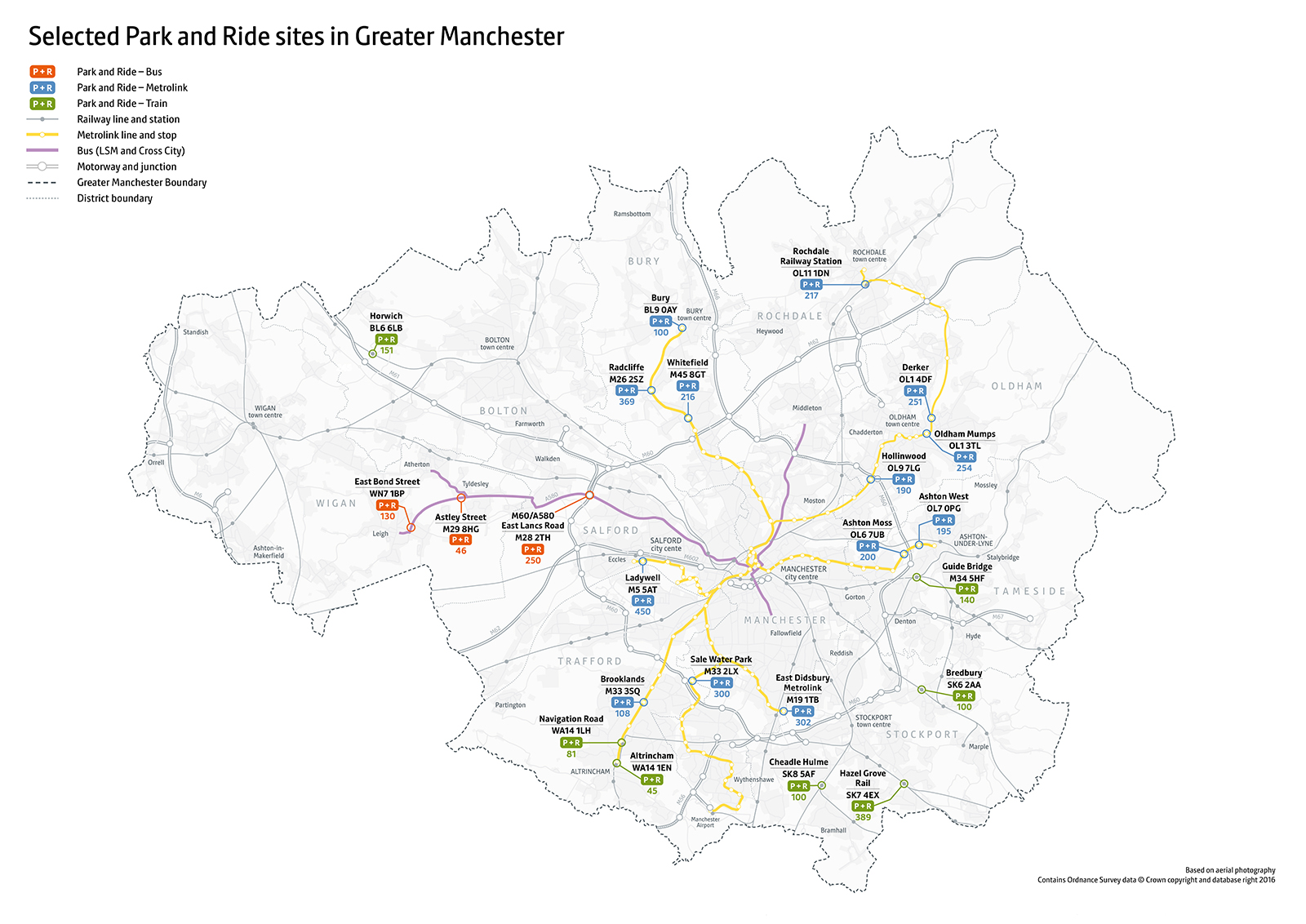 GM P&R Map Nov 2018 (selected) POSTCODES