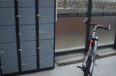 Blue cycle lockers