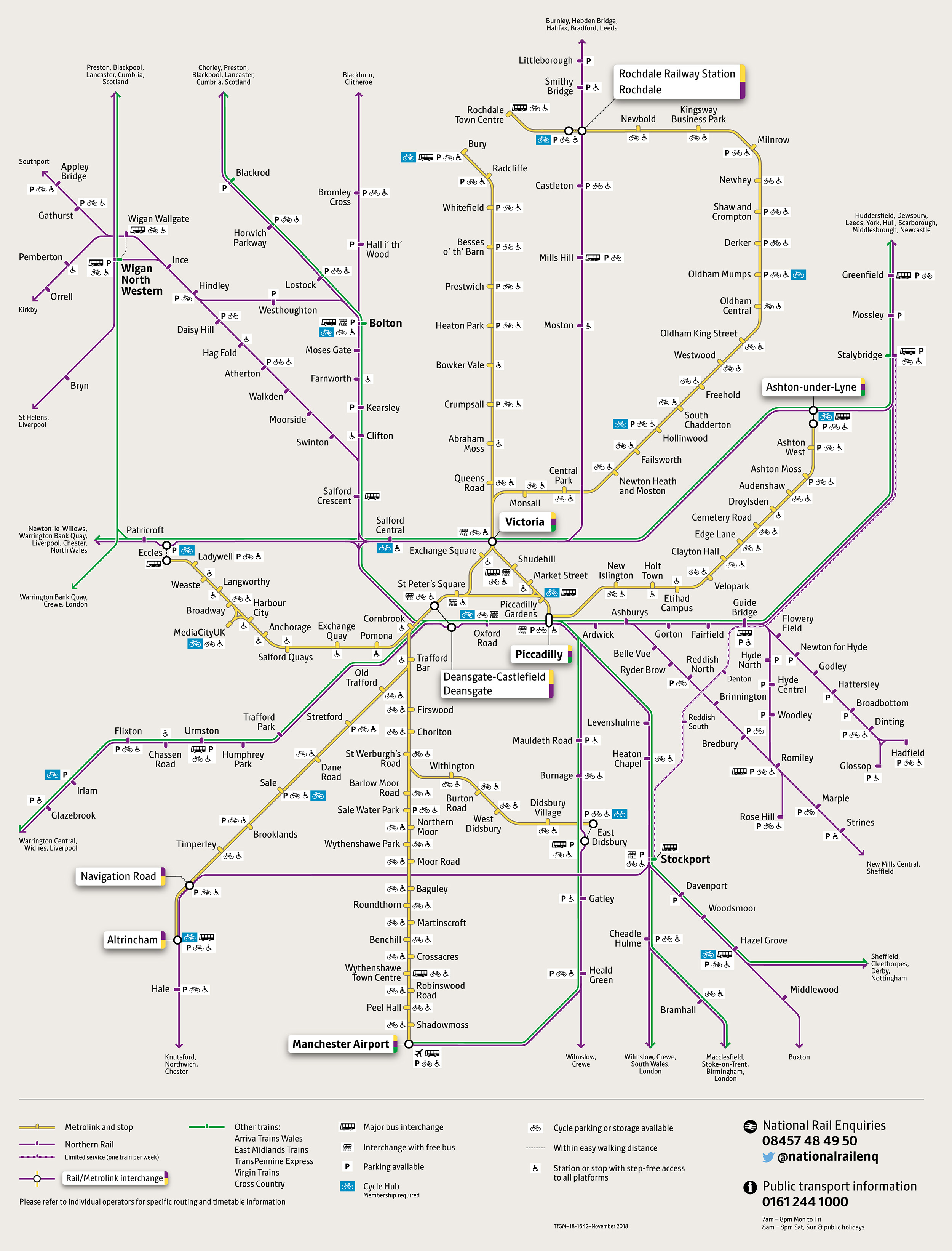 Combined Rail Metrolink network map v17 (free bus)